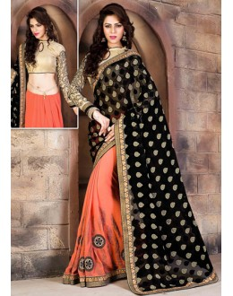 Ethnic Wear Black & Peach Georgette Saree  - 79057