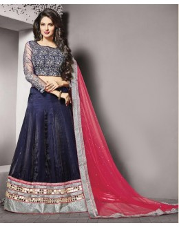 Traditional Navy Blue Silk Lehenga Choli - 79229