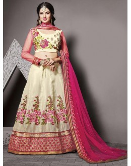 Festival Wear Off White Silk Lehenga Choli - 79233