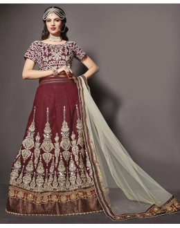 Wedding Wear Maroon Silk Lehenga Choli - 79235