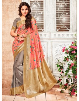 Ethnic Wear Pink & Grey Silk Saree  - 79236