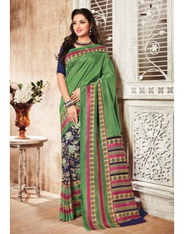 Ethnic Wear Green & Blue Silk Saree  - 79242