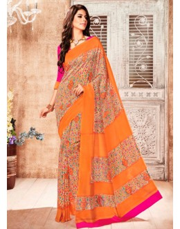 Casual Wear Orange Silk Saree  - 79251