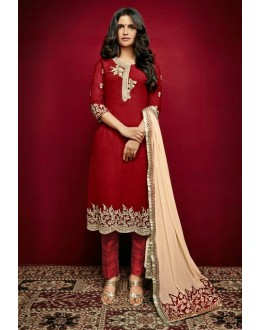 Ethnic Wear Red Georgette Salwar Suit  - 79310
