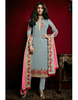 Party Wear Grey Georgette Salwar Suit  - 79315