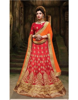 Traditional Red Silk Embroidery Lehenga Choli - 79354