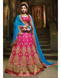 Wedding Wear Pink Silk Embroidery Lehenga Choli - 79356