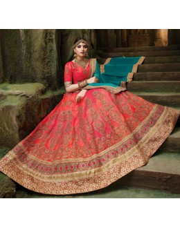 Bridal Wear Pink Silk Embroidery Lehenga Choli - 79357