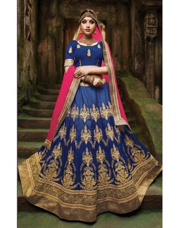 Designer Navy Blue Silk Embroidery Lehenga Choli - 79358