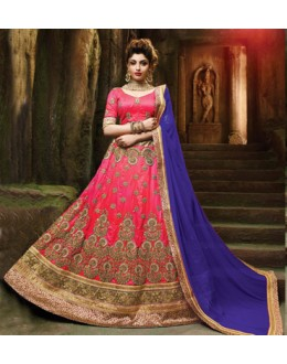 Wedding Wear Pink Silk Embroidery Lehenga Choli - 79359