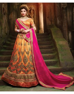 Bridal Wear Orange Silk Embroidery Lehenga Choli - 79361