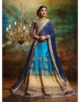 Traditional Sky Blue Net Lehenga Choli - 79374