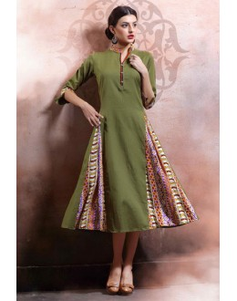 Ethnic Wear Readymade Green Cotton Kurti - 79540