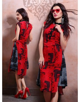 Ethnic Wear Readymade Red Cotton Kurti - 79541