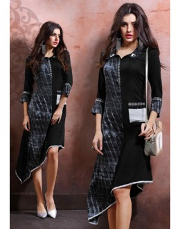 Fancy Readymade Black Cotton Kurti - 79543