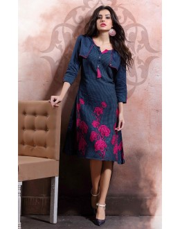 Office Wear Readymade Blue Cotton Kurti - 79545