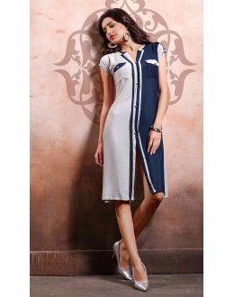 Ethnic Wear Readymade White & Blue Kurti - 79548