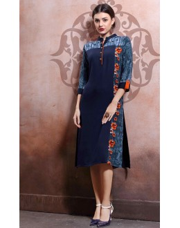 Office Wear Readymade Navy Blue Kurti - 79549