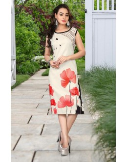 Party Wear Readymade Off White Kurti - 80227