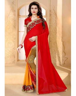 Ethnic Wear Red Georgette Saree  - 80253