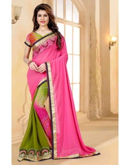 Festival Wear Pink Georgette Saree  - 80254