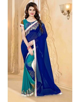 Festival Wear Blue Georgette Saree  - 80259