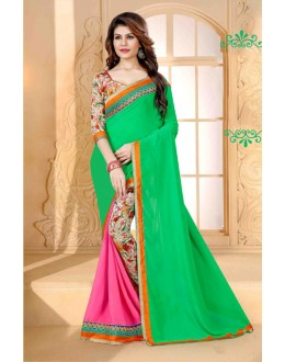 Casual Wear Multi-Colour Georgette Saree  - 80261