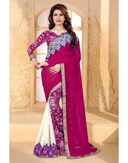 Festival Wear Pink & White Georgette Saree  - 80263