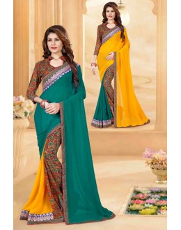 Casual Wear Multi-Colour Georgette Saree  - 80264