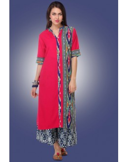 Ethnic Wear Readymade Pink Cotton Kurti - 80013