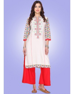 Festival Wear Readymade White Cotton Kurti - 80016