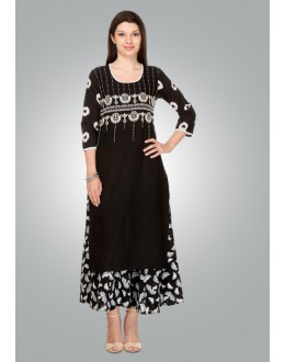 Ethnic Wear Readymade Black Cotton Kurti - 80017