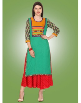Ethnic Wear Readymade Green Cotton Kurti - 80020