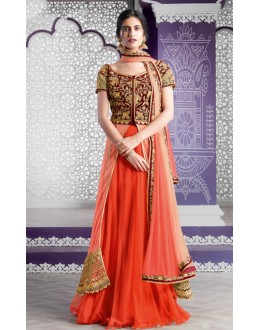 Ethnic Wear Maroon & Orange Lehenga Suit  - 80194