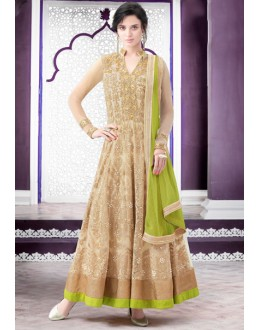 Festival Wear Beige Net Anarkali Suit  - 80201