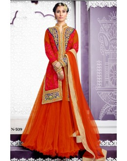 Ethnic Wear Orange Art Silk Lehenga Suit  - 80202