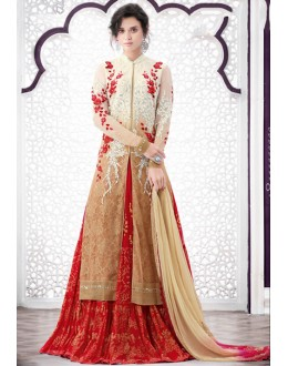Ethnic Wear Beige Net Lehenga Suit  - 80203