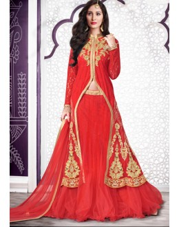Ethnic Wear Red Net Lehenga Suit  - 80205