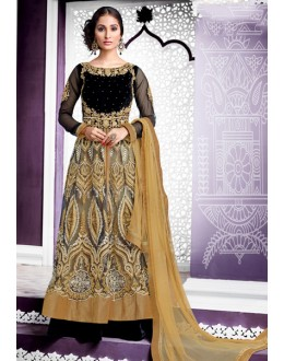 Ethnic Wear Black & Beige Net Lehenga Suit  - 80207