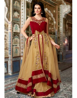 Ethnic Wear Red & Beige Net Lehenga Suit  - 80209