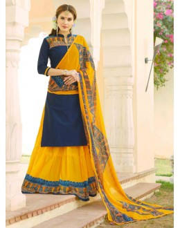 Festival Wear Blue & Yellow Lehenga Suit  - 80358
