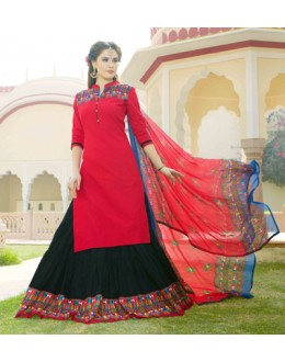 Festival Wear Pink & Black Lehenga Suit  - 80359