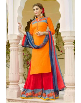 Ethnic Wear Orange & Red Lehenga Suit  - 80360