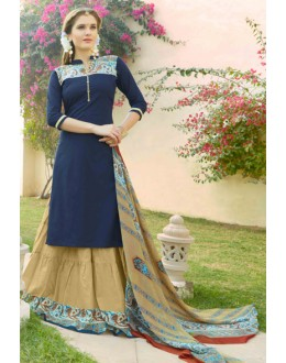 Festival Wear Blue & Brown Lehenga Suit  - 80361