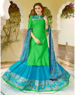 Ethnic Wear Green & Blue Lehenga Suit  - 80362