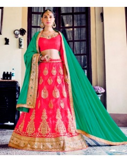 Wedding Wear Pink Net Lehenga Choli - 80378