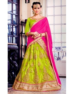 Designer Green Net Embroidered Lehenga Choli - 80379