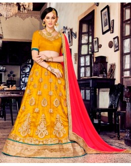 Traditional Yellow Net Lehenga Choli - 80381