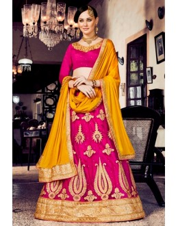 Wedding Wear Pink Net Lehenga Choli - 80384