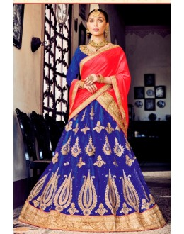 Traditional Blue Net Lehenga Choli - 80385